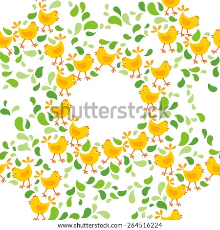 little yellow chickens with green leaves Easter spring holidays themed decorative wreath seamless pattern isolated on white background - stock vector