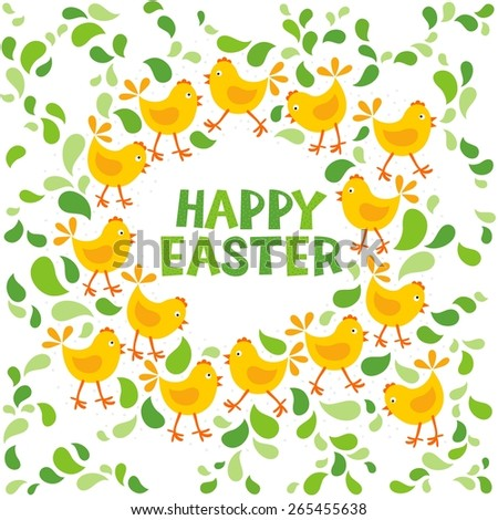 little yellow chickens with green leaves Easter spring holidays themed decorative wreath with wishes in English isolated on white background - stock vector