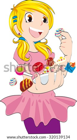 little young girl with candy
