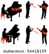 Live Band Musicians Silhouette Collection Original Illustration - stock photo