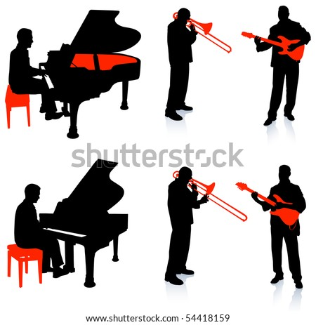 Live Band Musicians Silhouette Collection Original Illustration - stock vector