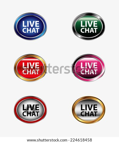 Live chat tag icon vector illustration set  - stock vector