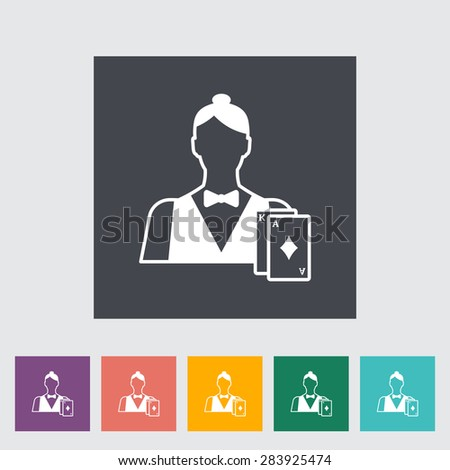 Live dealer. Single flat icon on the button. Vector illustration. - stock vector