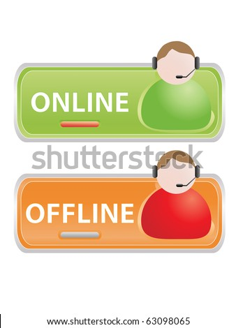 Live help signs (Customer support symbols for web) - stock vector