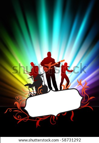 Live Music Band on Abstract Tropical Frame with Spectrum  Original Illustration - stock vector