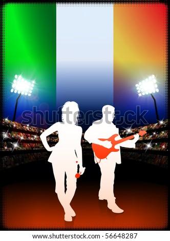Live Music Band with Ireland Flag on Stadium Background Original Illustration - stock vector