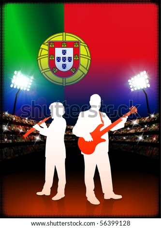 Live Music Band with Portugal Flag on Stadium Background Original Illustration - stock vector