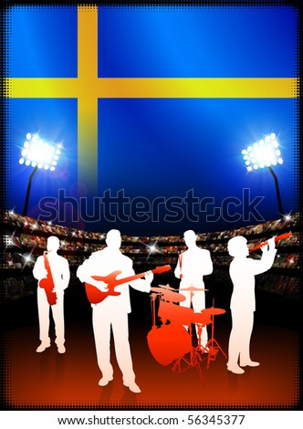 Live Music Band with Sweden Flag on Stadium Background Original Illustration - stock vector