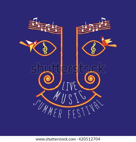 Live music festival. Summer music festival concept. Template Design for Poster. Clef, notes. Idea for Live Musical Festival, show, promotion, concert, advertisement background. Vector illustration. - stock vector