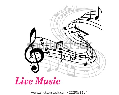 Live Music poster template with a clef, staff and music notes curling into the distance and text Live Music in pink with copyspace - stock vector