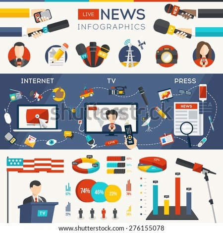 Live News Infographic Set with Charts and Huge Collection of Icons. Vector Detailed Illustration in Flat Modern Style with  Hands of Journalists with Microphones - stock vector