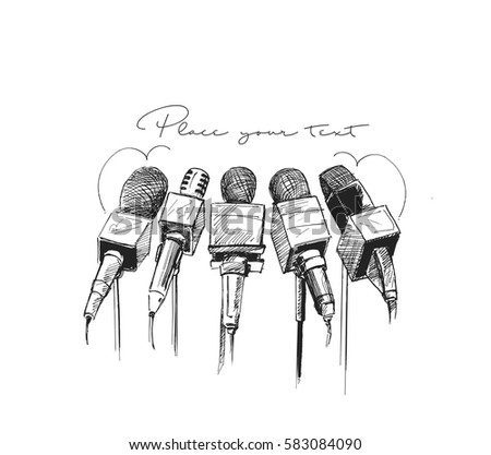 Live news template with microphone. Journalism concept, Hand Drawn Sketch Vector illustration.