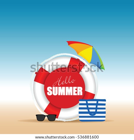 live saver with hallo summer and beach bag illustration in colorful