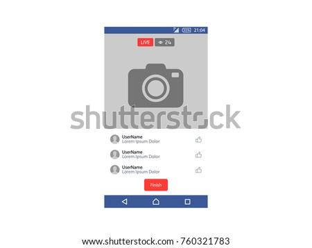 Live Video streaming on smartphone Vector Illustration