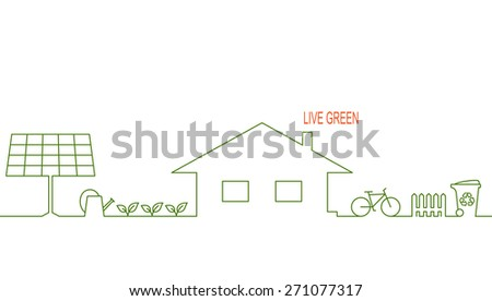 Living green and eco friendly house concept with alternative solar energy, organic gardening, waste recycling and bicycle