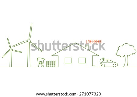 Living green and eco friendly house concept with alternative wind energy, waste recycling and electric car - stock vector