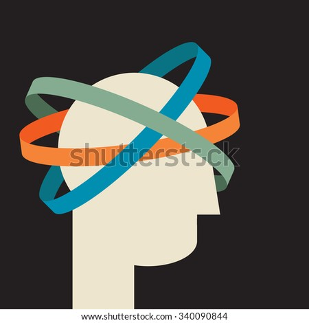 living in virtual reality: creative thoughts orbiting human head   - stock vector