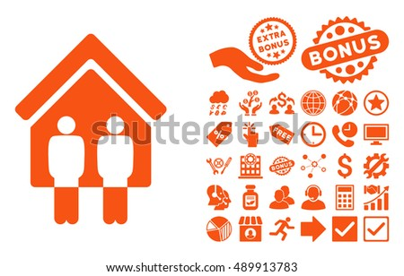 Living Persons pictograph with bonus elements. Vector illustration style is flat iconic symbols, orange color, white background.