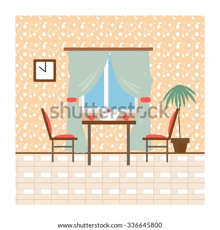 Living room and dining room with furniture.Flat style vector illustration.Flat