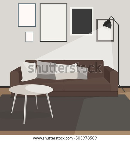 Living Room Apartment Design Concept. Modern Home Interior Dark Colors With  Furniture Couch Lamp Table