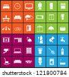 living room , bedroom , kitchen, bathroom  equipment set  (vector) - stock vector