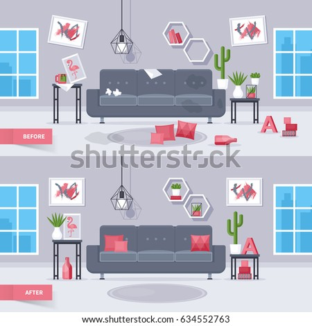 Clean Bedroom Before And After Pulaski Bedroom Sets Bedroom Grey Walls Bedroom Wallpaper Design Ideas: Before And After Room Stock Images, Royalty-Free Images