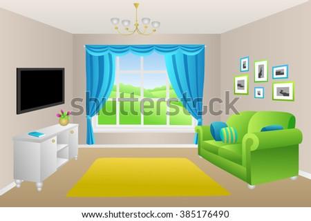 Living room blue green sofa pillows lamps window illustration vector - stock vector