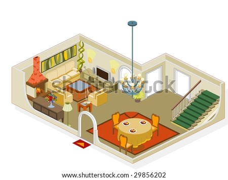 Living room furniture - stock vector