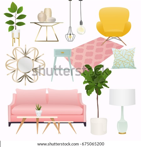 Living Room Furniture Home Accessories Including Stock Vector ...