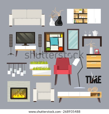 Living room furniture decorative icons set with sofa bookshelf tv table isolated vector illustration - stock vector