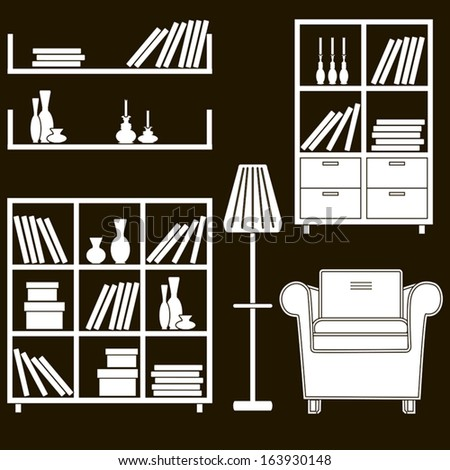 living room furniture icons 5 - stock vector
