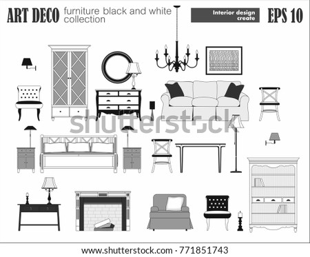 Living room furniture set art deco stock vector 771851743 for Art deco interior design elements