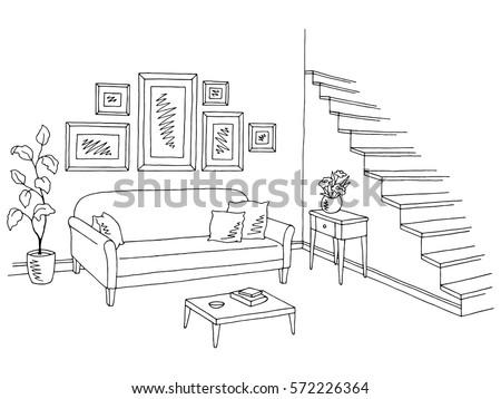 Room Interior Sketch Window Furniture Stock Vector