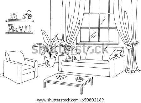 Living Room Graphic Black White Interior Stock Vector