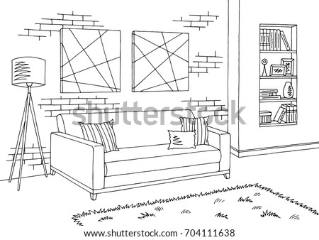 Elegant Living Room Graphic Black White Interior Sketch Illustration Vector