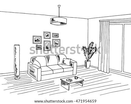 Living Room Interior Black White Graphic Art Sketch Illustration Vector