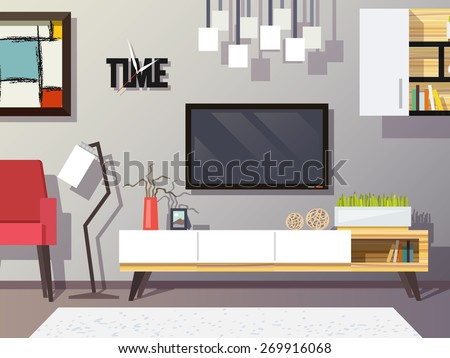 Living room interior concept with modern furniture set flat vector illustration - stock vector