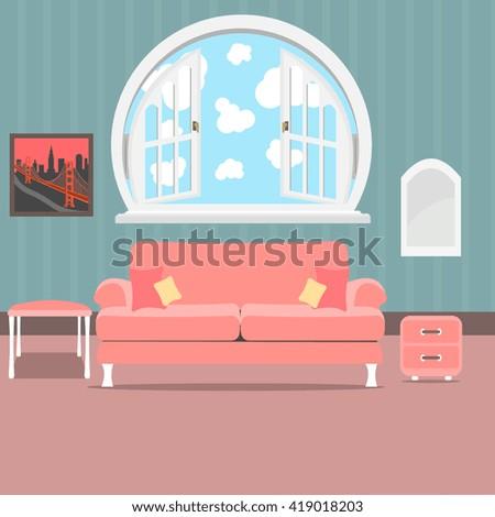 Living Room Interior Design Background Furniture Stock Vector ...