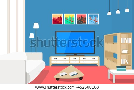Living room interior design concept with modern furniture set: big tv, two tables, bookshelves, cupboard, pictures, sofa, lamps. Vector flat style illustration. - stock vector
