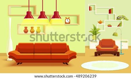 green color red living room interior design beige green stock vector 489206239