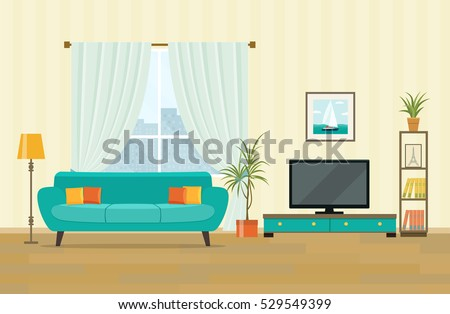 Living Room Interior Design With Furniture: Sofa, Bookcase, Tv, Lamps. Flat Part 93
