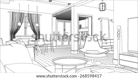 interior line drawing stock images royalty free images vectors shutterstock. Black Bedroom Furniture Sets. Home Design Ideas