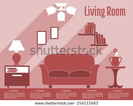 Living Room Interior Infographic Flat Style Stock Vector 256115683 ...