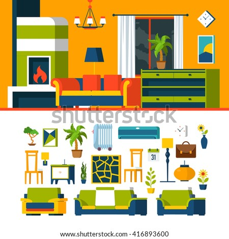 Living room interior object constructor template vector icon set. Flat style furniture accessory illustration. Coach sofa fireplace armchair chair picture air conditioner. Creative indoor collection. - stock vector