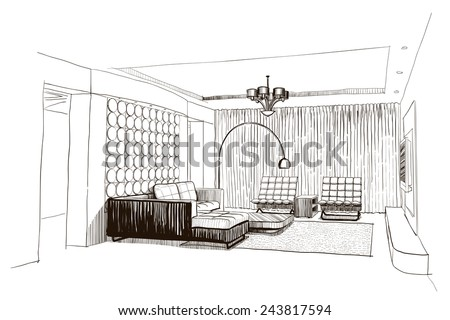 Living room interior sketch. - stock vector