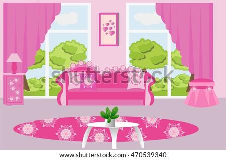 Living Room Interior Vector Illustration Pink Stock Vector (2018 ...