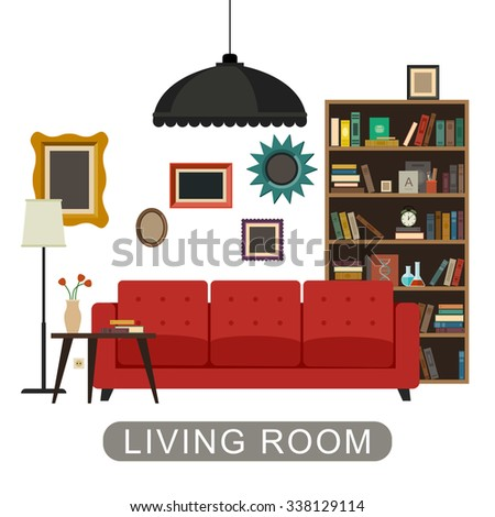 Living room interior with furniture. Vector banner of living room in flat style. - stock vector