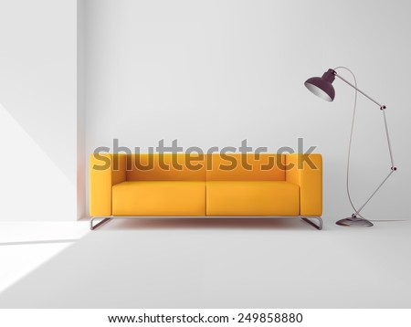Living room interior with realistic yellow sofa and lamp vector illustration - stock vector
