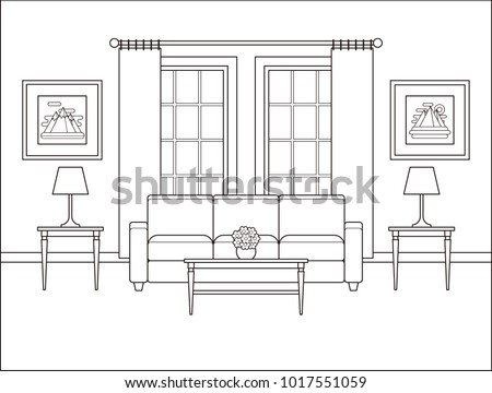 Living Room Interior With Window. Linear Room In Flat Design. Vector.  Outline Background