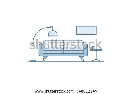 Living Room Line Art Stock Vector